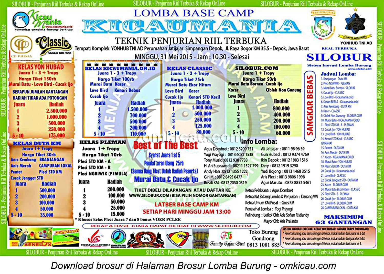 Brosur Lomba Burung Berkicau Base Camp Kicaumania, Depok, 31 Mei 2015