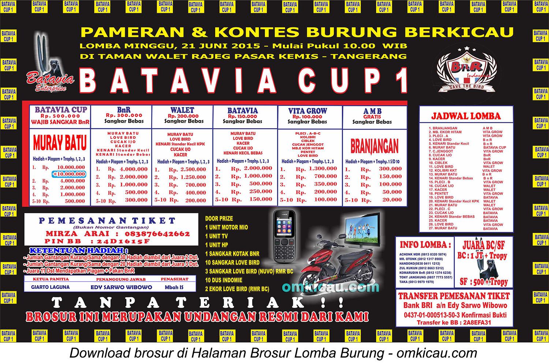 Brosur Lomba Burung Berkicau Batavia Cup 1, Tangerang, 21 Juni 2015