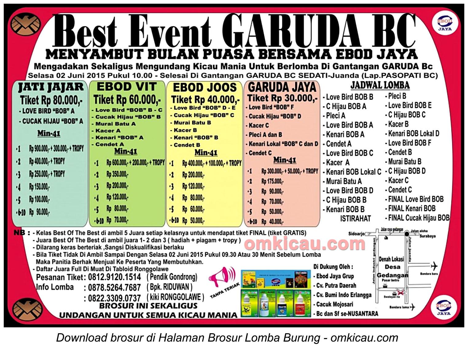 Brosur Lomba Burung Berkicau Best Event Garuda BC, Sidoarjo, 2 Juni 2015