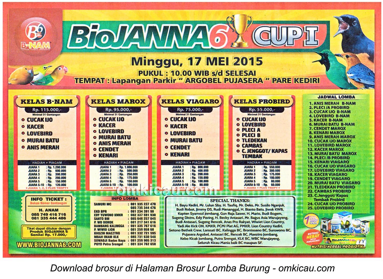 Brosur Lomba Burung Berkicau BioJanna6 Cup I, Kediri, 17 Mei 2015