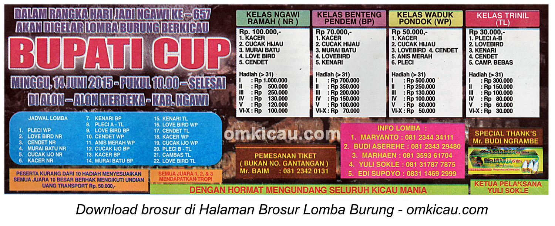 Brosur Lomba Burung Berkicau Bupati Cup, Ngawi, 14 Juni 2015