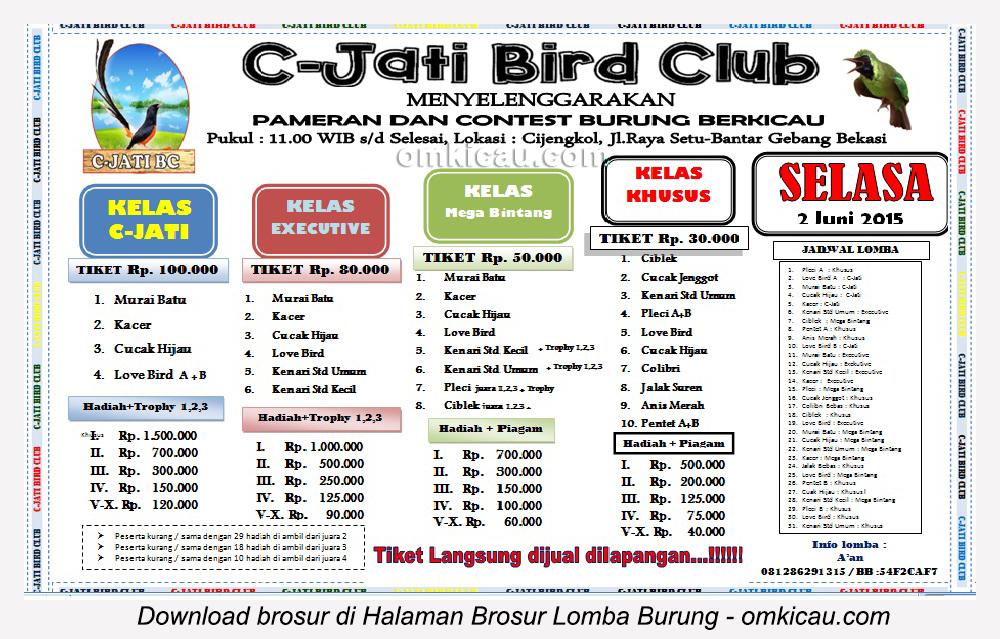 Brosur Lomba Burung Berkicau C-Jati Bird Club, Bekasi, 2 Juni 2015