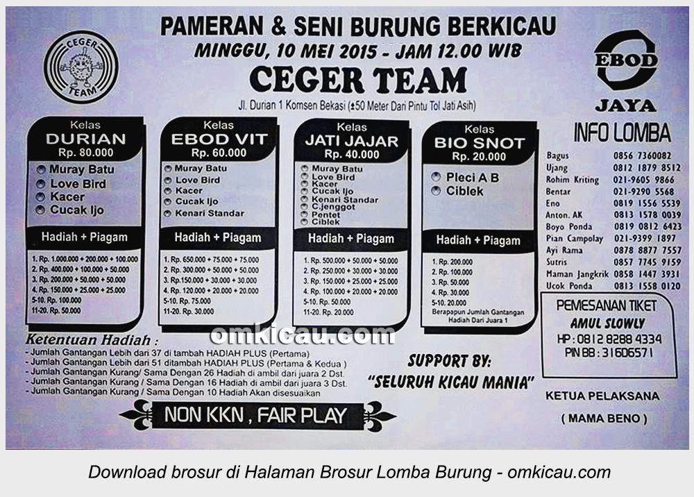 Brosur Lomba Burung Berkicau Ceger Team, Bekasi, 10 Mei 2015