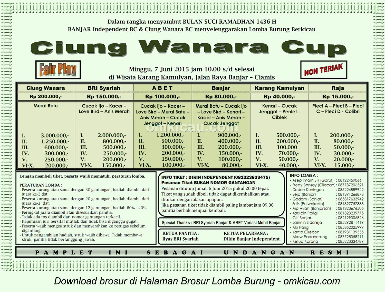 Brosur Lomba Burung Berkicau Ciung Wanara Cup, Ciamis, 7 Juni 2015