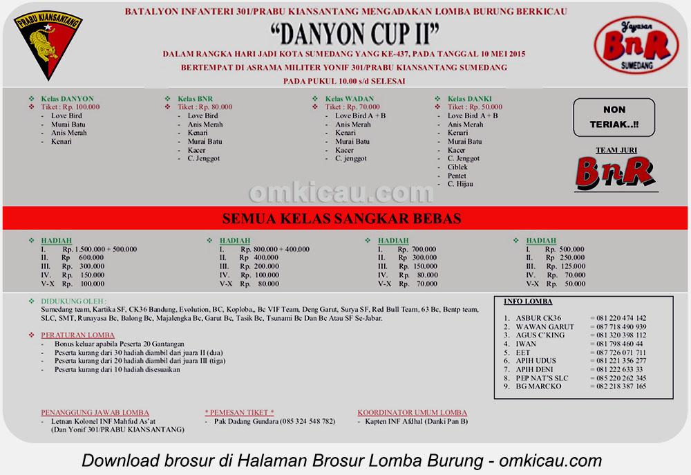 Brosur Lomba Burung Berkicau Danyon Cup II Infanteri-301, Sumedang, 10 Mei 2015