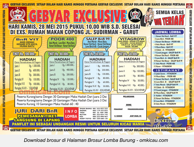 Brosur Lomba Burung Berkicau Gebyar Exclusive BnR, Garut, 28 Mei 2015