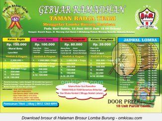 Brosur Lomba Burung Berkicau Gebyar Ramadhan Taman Radja Team, Jakarta Selatan, 13 Juni 2015