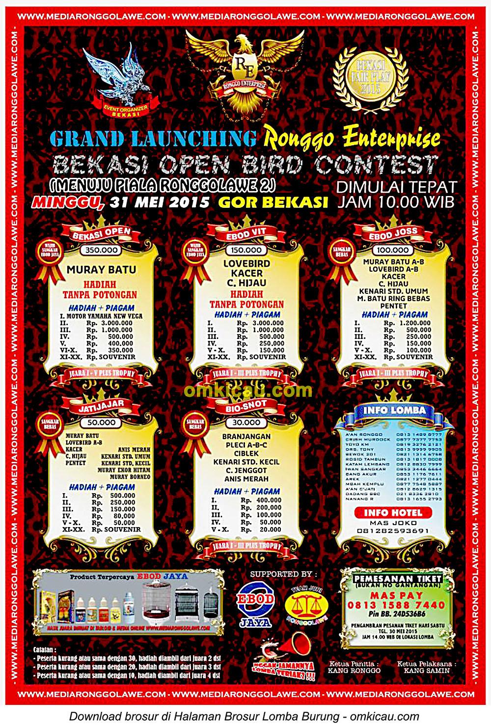 Brosur Lomba Burung Berkicau Grand Launching Ronggo Enterprise, Bekasi, 31 Mei 2015