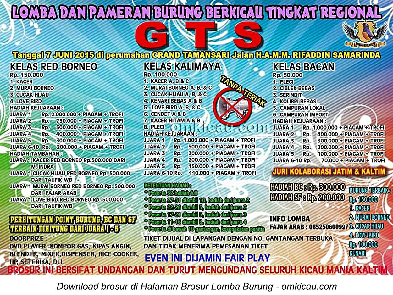 Brosur Lomba Burung Berkicau GTS, Samarinda, 7 Juni 2015