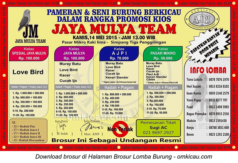 Brosur Lomba Burung Berkicau Jaya Mulya Team, Jakarta, 14 Mei 2015
