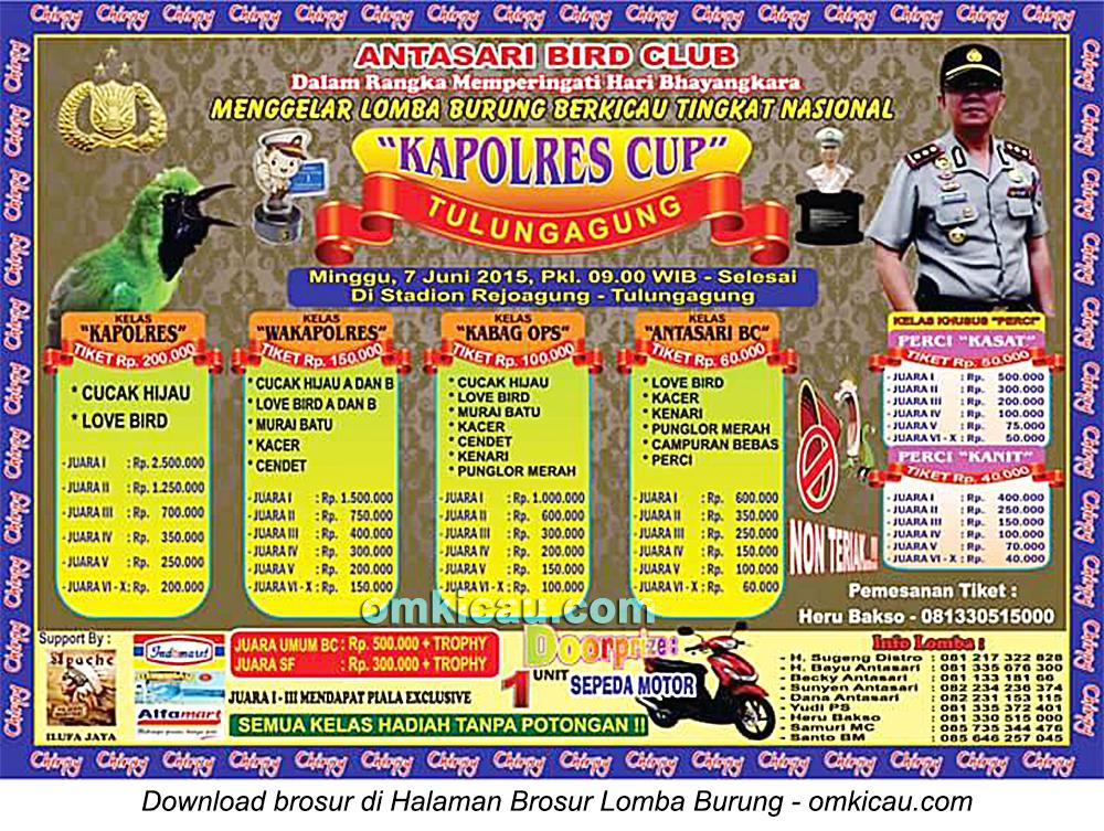 Brosur Lomba Burung Berkicau Kapolres Cup, Tulungagung, 7 Juni 2015