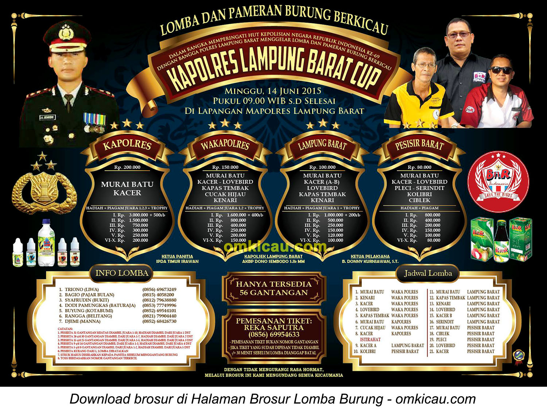 Brosur Lomba Burung Berkicau Kapolres Lampung Barat Cup, 14 Juni 2015