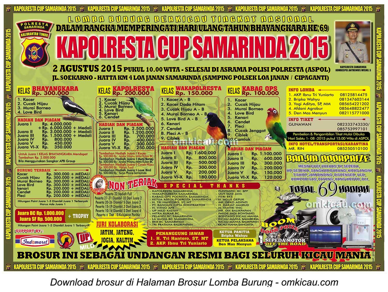 Brosur Lomba Burung Berkicau Kapolresta Cup-Samarinda-2 Agustus 2015