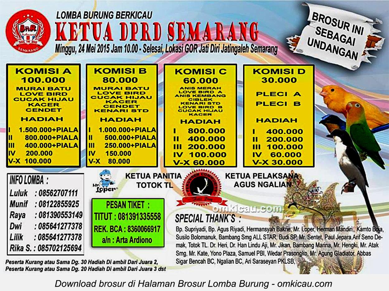 Brosur Lomba Burung Berkicau Ketua DPRD Semarang, 24 Mei 105