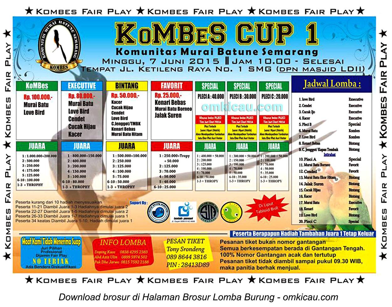 Brosur Lomba Burung Berkicau Kombes Cup 1, Semarang, 7 Juni 2015