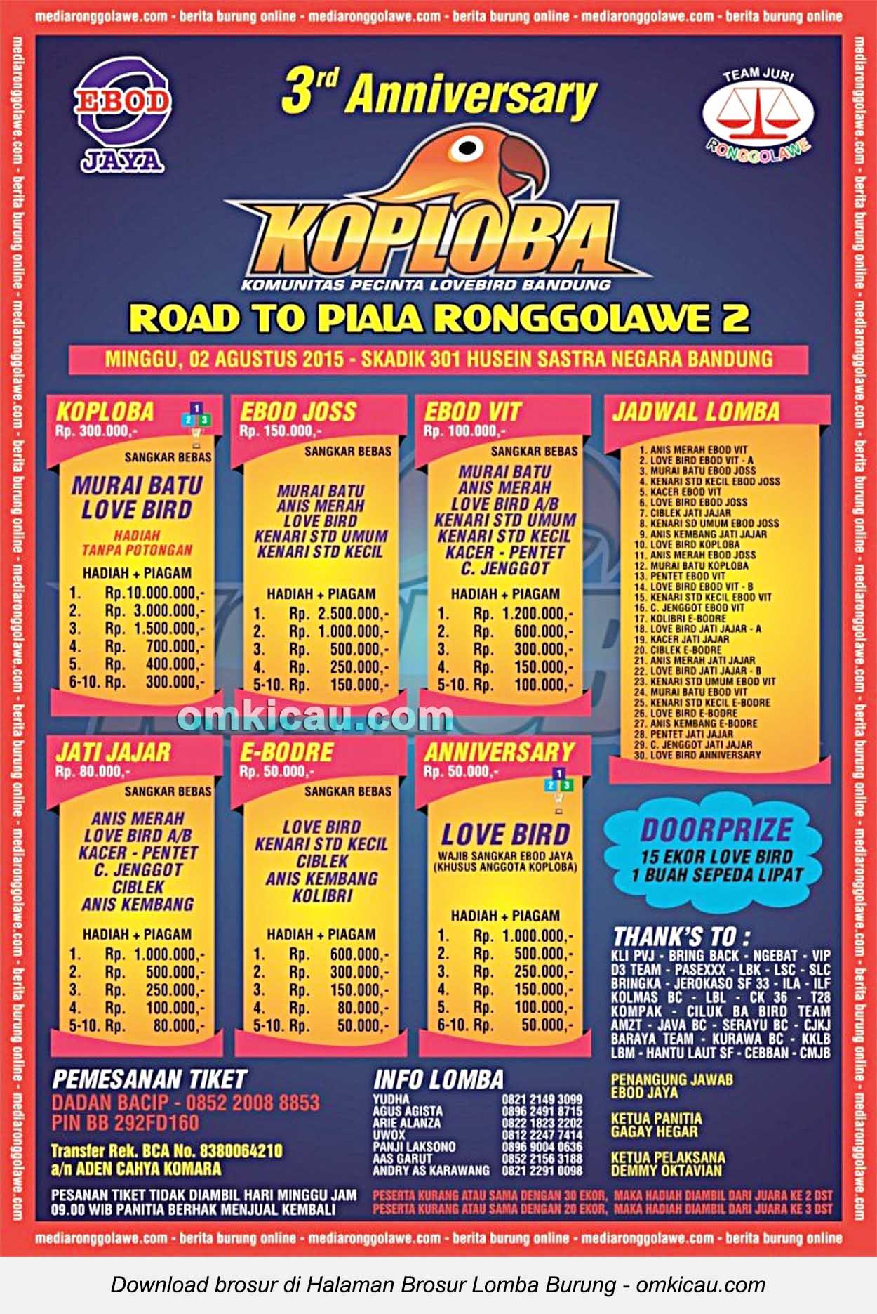 Brosur Lomba Burung Berkicau Koploba Road to Piala Ronggolawe, Bandung, 2 Agustus 2015