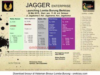 Brosur Lomba Burung Berkicau Launching Jagger Enterprise, Jakarta, 30 Mei 2015