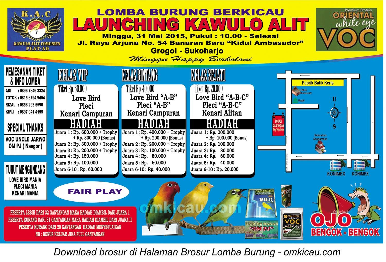 Brosur Lomba Burung Berkicau Launching Kawulo Alit, Sukoharjo, 31 Mei 2015