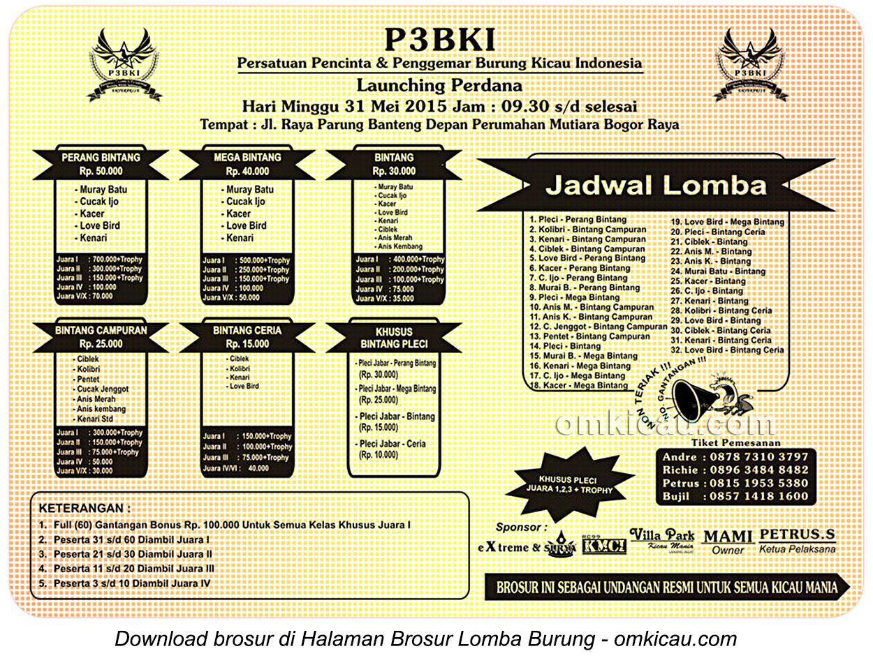 Brosur Lomba Burung Berkicau Launching Perdana P3BKI, Bogor, 31 Mei 2015