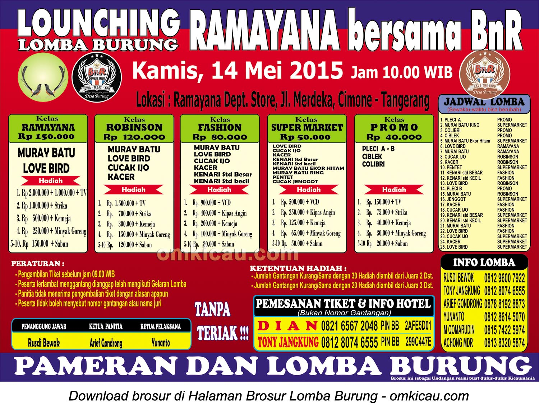 Brosur Lomba Burung Berkicau Launching Ramayana, Tangerang, 14 Mei 2015