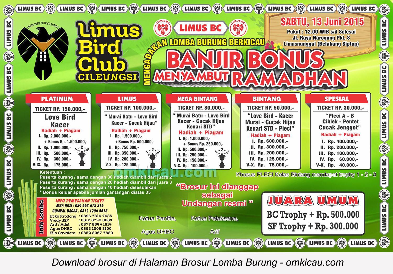 Brosur Lomba Burung Berkicau Limus BC, Bogor, 13 Juni 2015