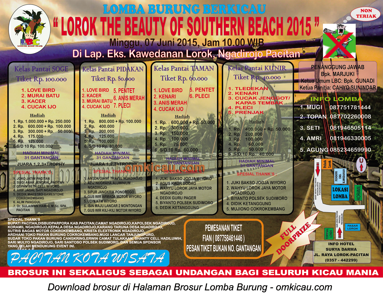 Brosur Lomba Burung Berkicau Lorok The Beauty of Southern Beach, Pacitan, 7 Juni 2015
