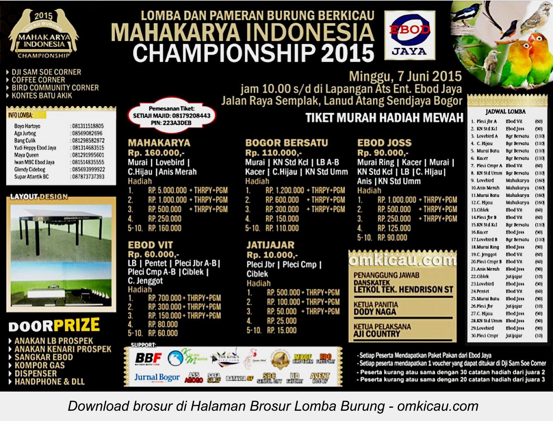 Brosur Lomba Burung Berkicau Mahakarya Indonesia Championship 2015, Bogor, 7 Juni 2015