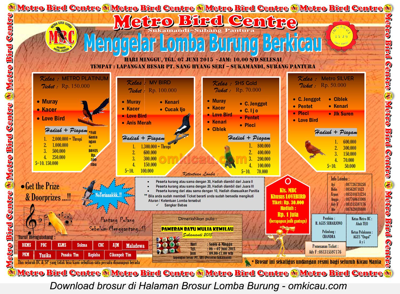 Brosur Lomba Burung Berkicau Metro Bird Centre, Subang, 7 Juni 2015