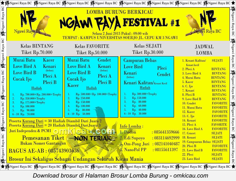 Brosur Lomba Burung Berkicau Ngawi Raya Festival #1, Ngawi, 2 Juni 2015
