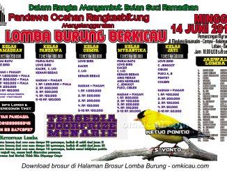 Brosur Lomba Burung Berkicau Pandawa Ocehan Rangkasbitung, Lebak, 14 Juni 2015
