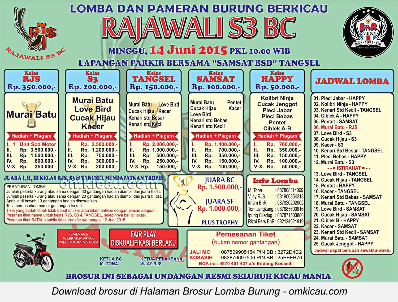 Brosur Lomba Burung Berkicau Rajawali S3 BC, Tangerang Selatan, 14 Juni 2015