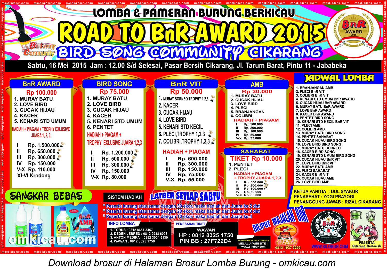 Brosur Lomba Burung Berkicau Road to BnR Award, Cikarang, 16 Mei 2015