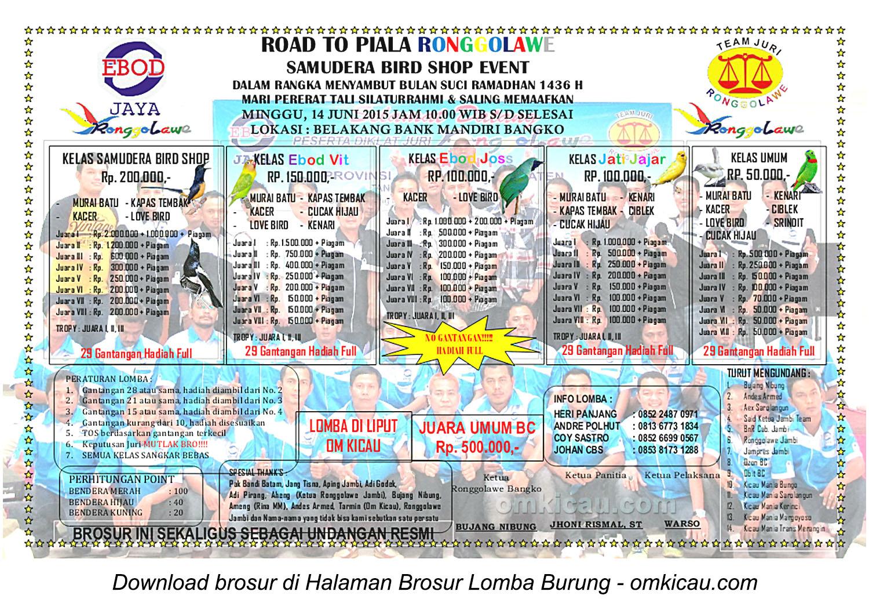 Brosur Lomba Burung Berkicau Road to Piala Ronggolawe, Bangko, 14 Juni 2015