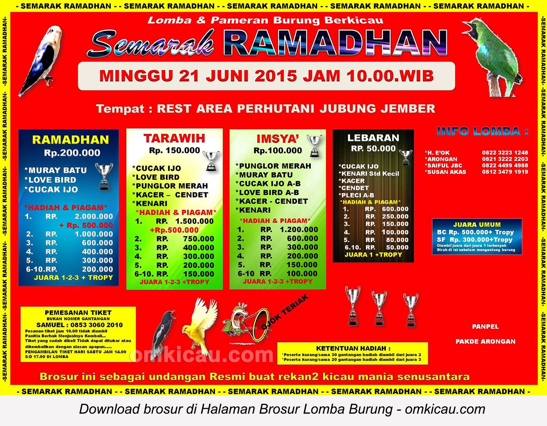 Brosur Lomba Burung Berkicau Semarak Ramadhan, Jember, 21 Juni 2015