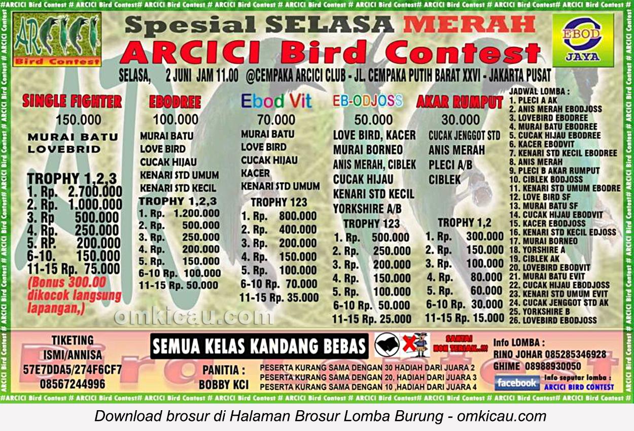 Brosur Lomba Burung Berkicau Spesial Selasa Merah Arcici, Jakarta, 2 Juni 2015