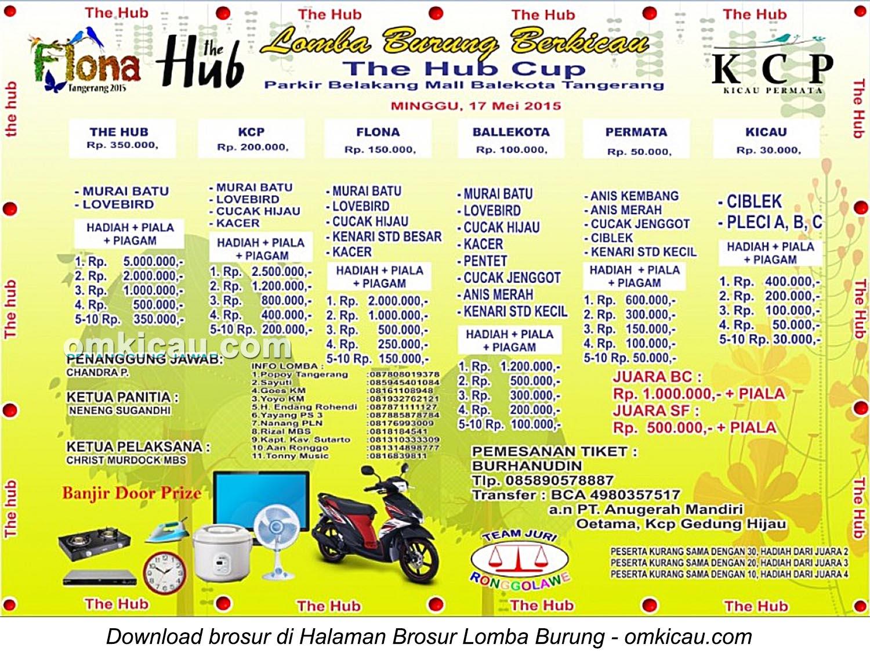 Brosur Lomba Burung Berkicau The Hub Cup, Tangerang, 17 Mei 2015