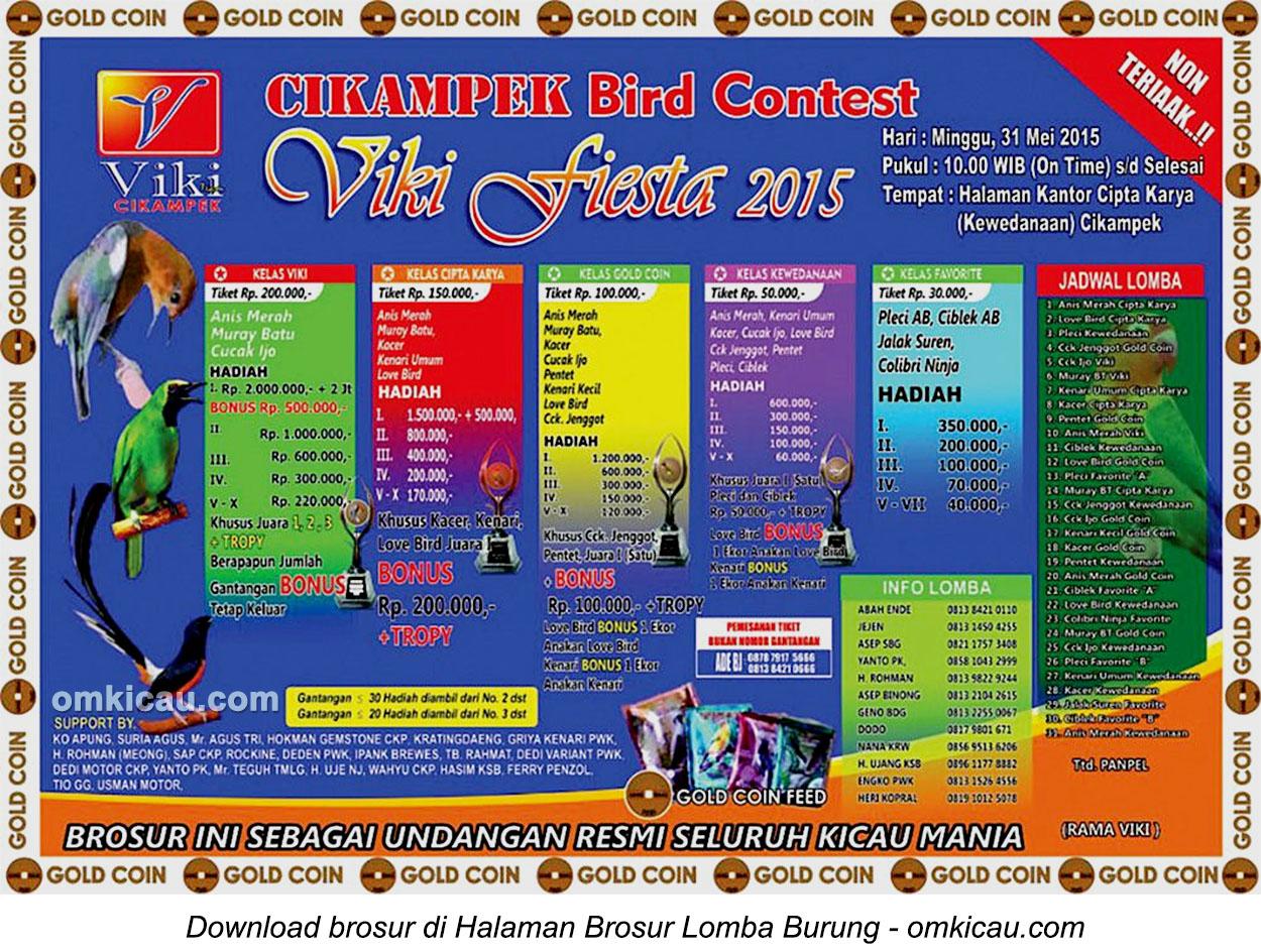 Brosur Lomba Burung Berkicau Viki Fiesta 2015, Cikampek, 31 Mei 2015