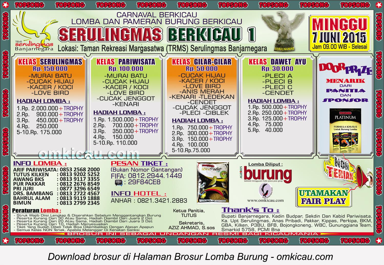 Brosur Lomba Burung Serulingmas Berkicau 1, Banjarnegara, 7 Juni 2015