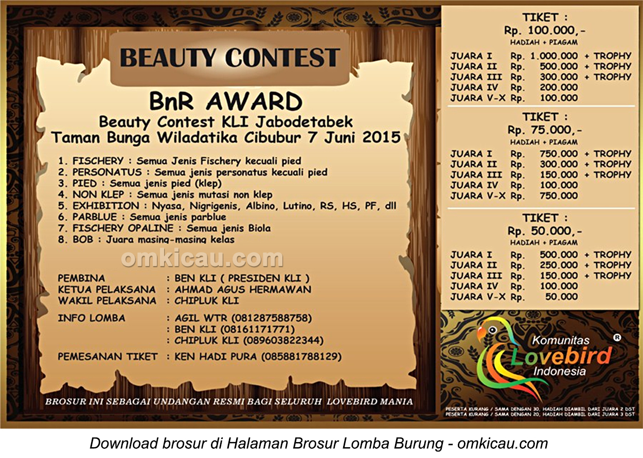 Brosur Lovebird Beauty Contest BnR Award, Jakarta, 7 Juni 2015