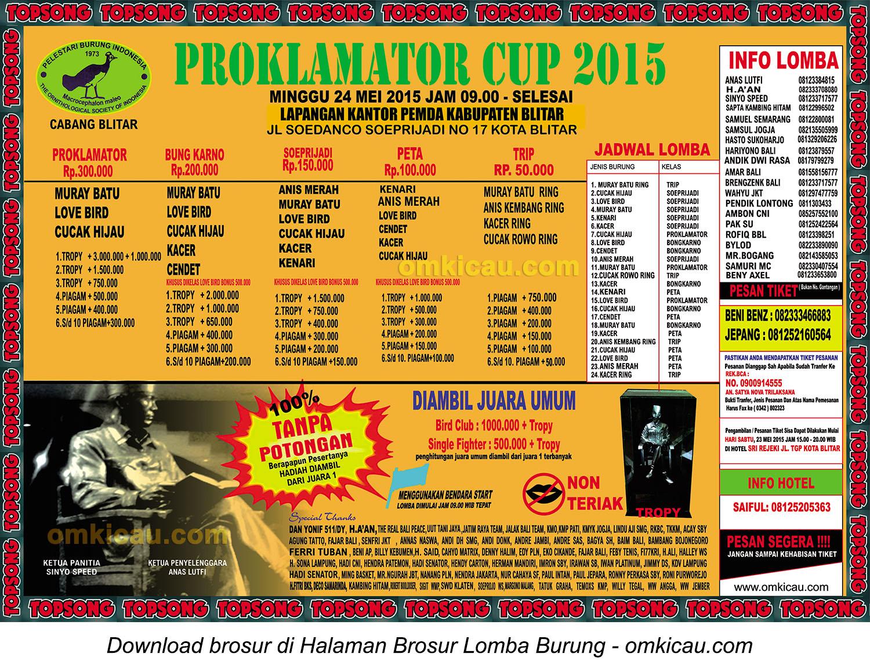 Brosur revisi Lomba Burung Berkicau Proklamator Cup, Blitar, 24 Mei 2015