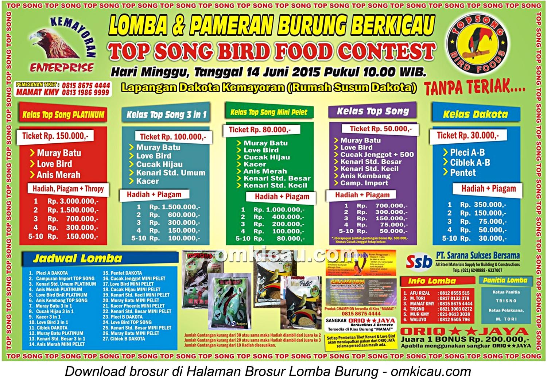 Brosur Top Song Bird Food Contest, Jakarta, 14 Juni 2015