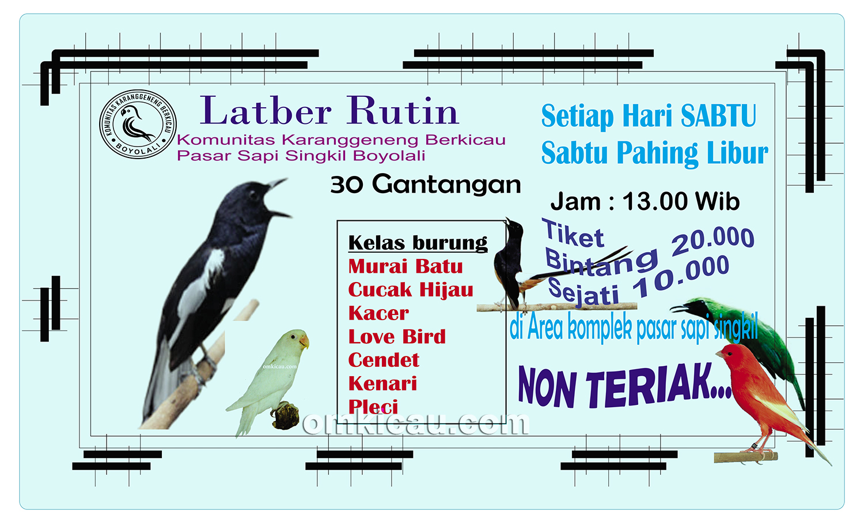 Latber Rutin Komunitas Karanggeneng Berkicau, Boyolali, Sabtu jam 13
