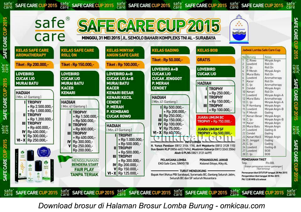 Lomba Burung Berkicau Safe Care Cup, Surabaya, 31Mei 2015