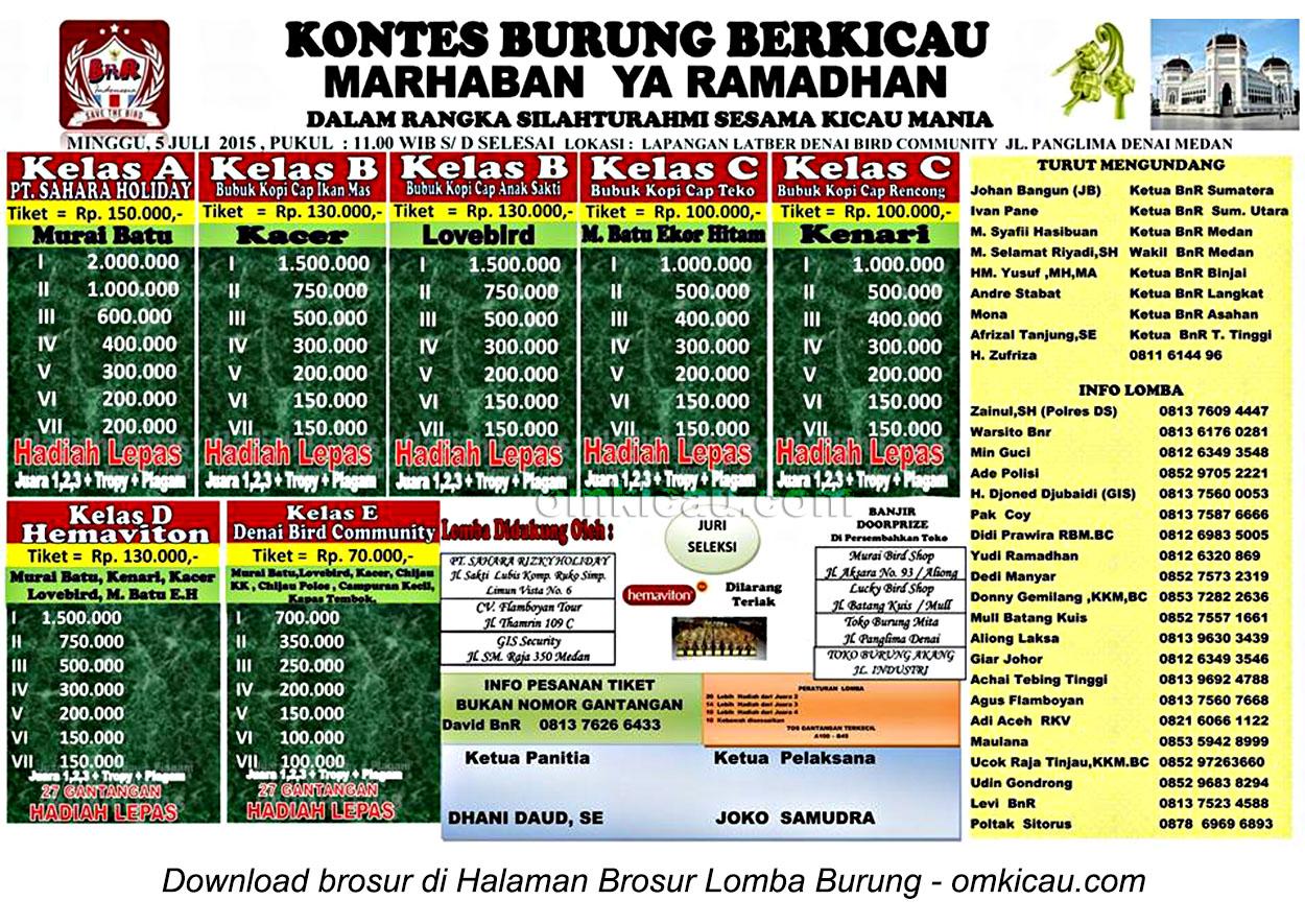 Brosur Kontes Burung Berkicau Marhaban Ya Ramadhan, Medan, 5 Juli 2015