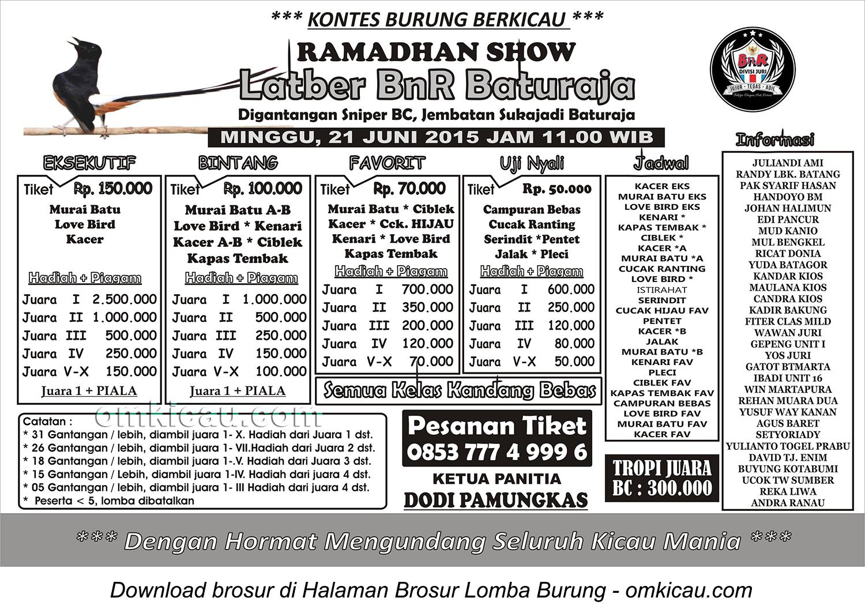 Brosur Latber BnR Baturaja Ramadhan Show, Baturaja, 21 Juni 2015