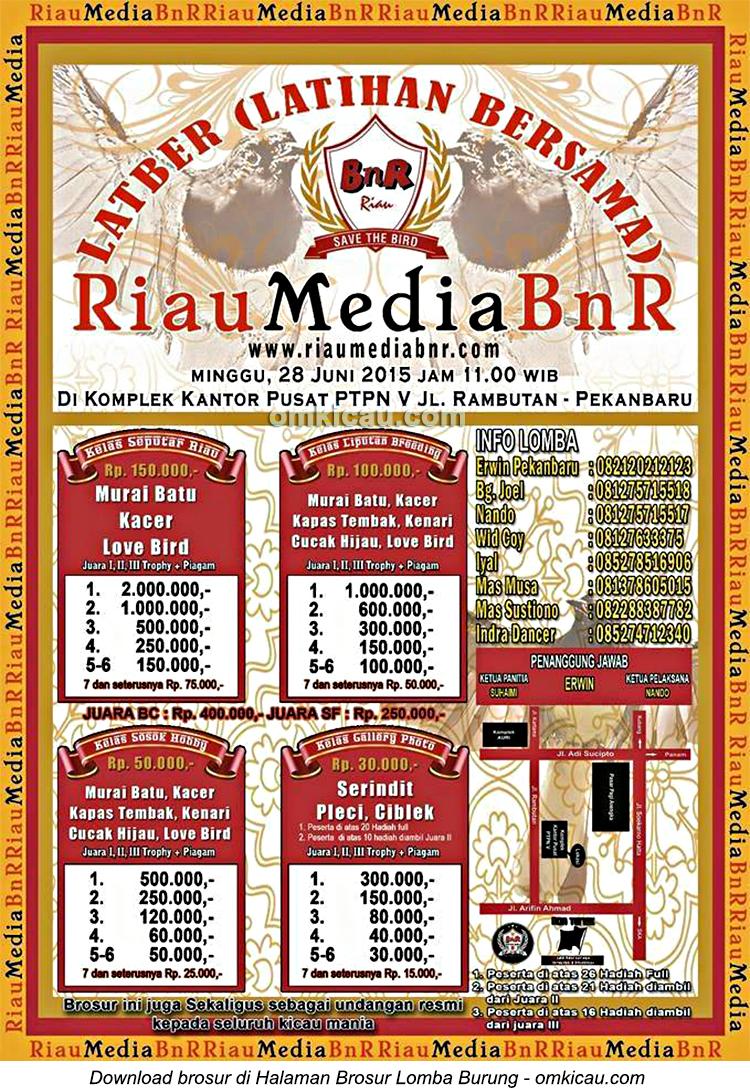 Brosur Latber Burung Berkicau Riau Media BnR, Pekanbaru, 28 Juni 2015
