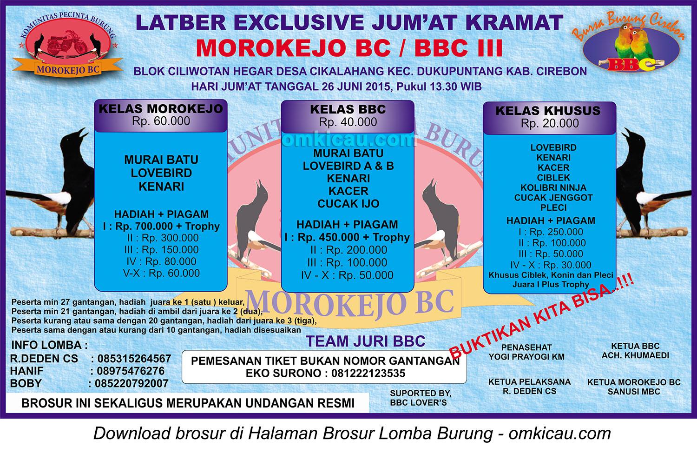 Brosur Latber Exclusive Jumat Kramat Morokejo BC-BBC III, Cirebon, 26 Juni 2015