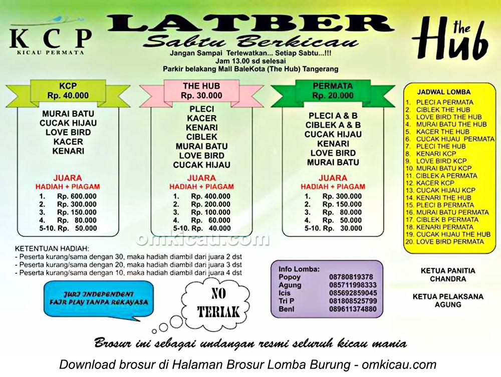 Brosur Latber Sabtu Berkicau KCP, Tangerang, setiap Sabtu pukul 13