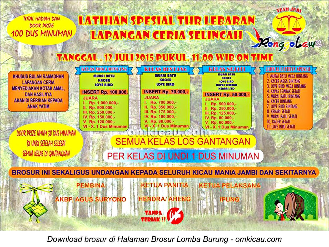Brosur Latihan Spesial THR Lebaran Lapangan Ceria Selincah, Jambi, 12 Juli 2015