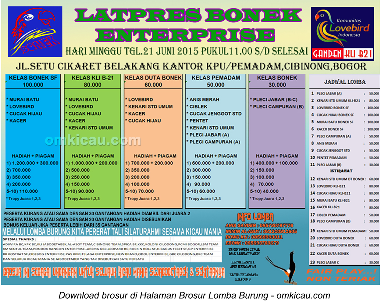 Brosur Latpres Burung Berkicau Bonek Enterprise, Bogor, 21 Juni 2015